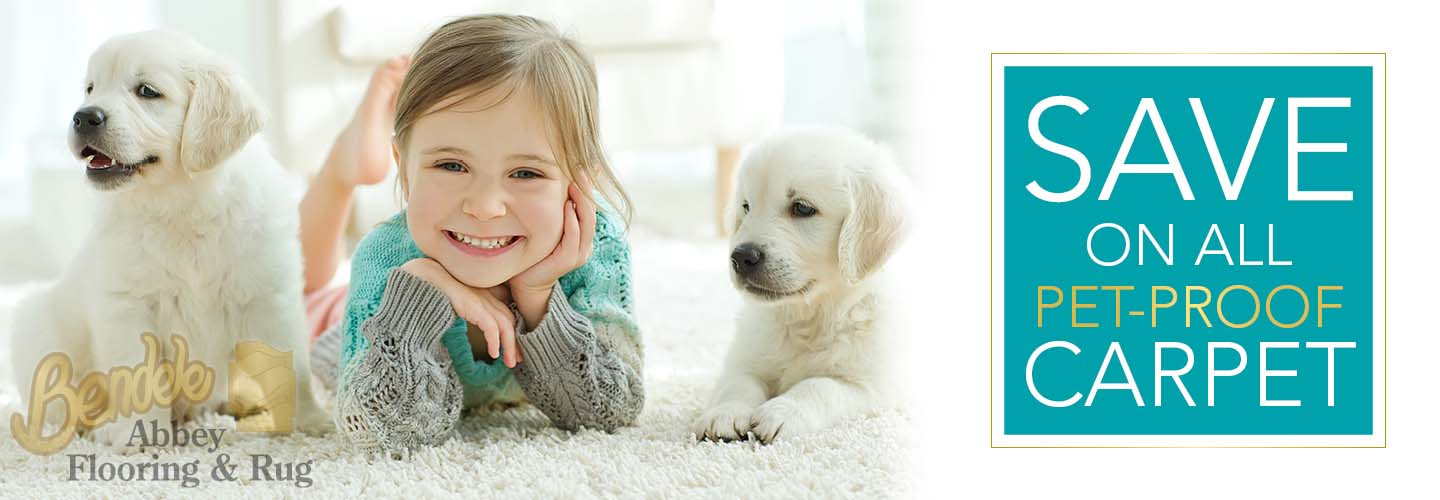 Save on all pet-proof carpet this month only at Bendele Abbey Carpet & Floor in Fort Myers